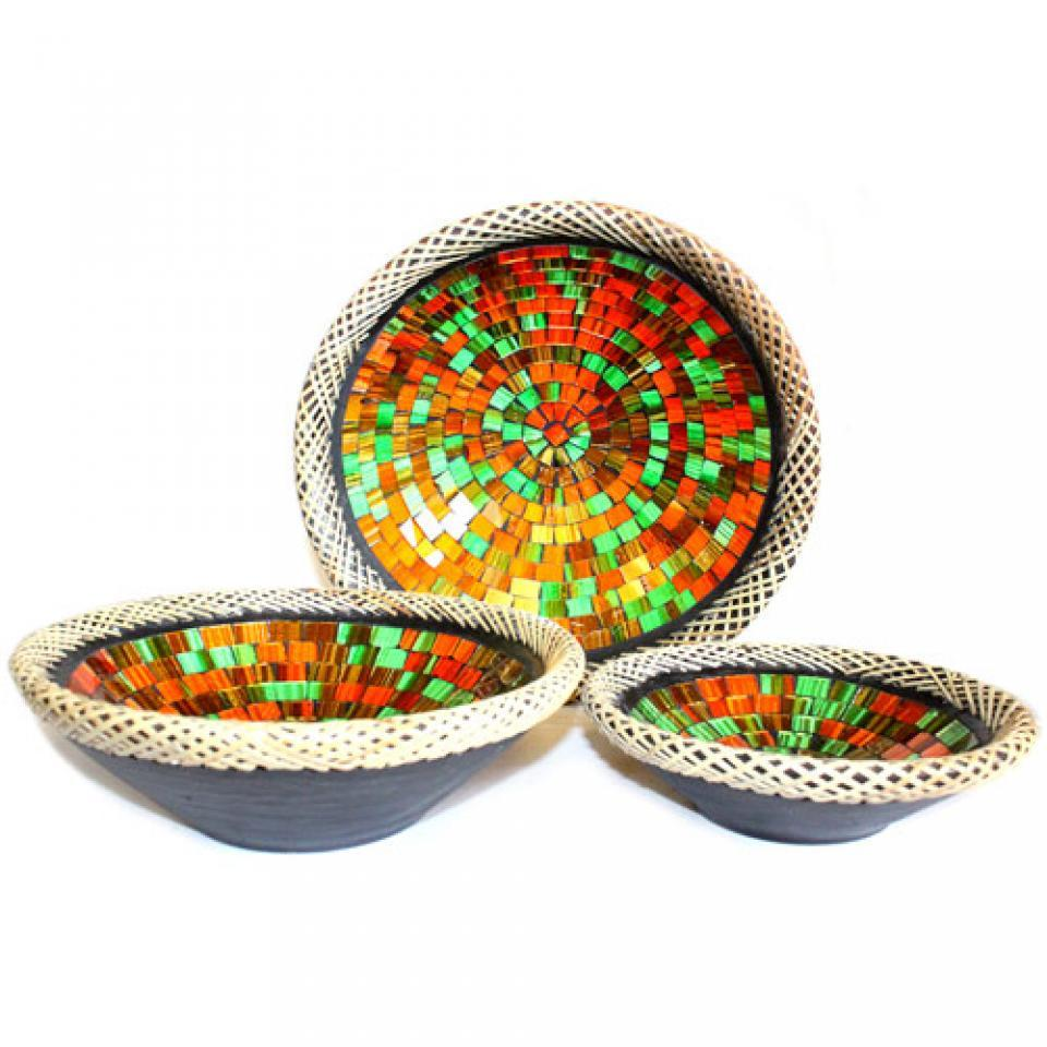 Rattan Mosaic Bowl Set Of Three
